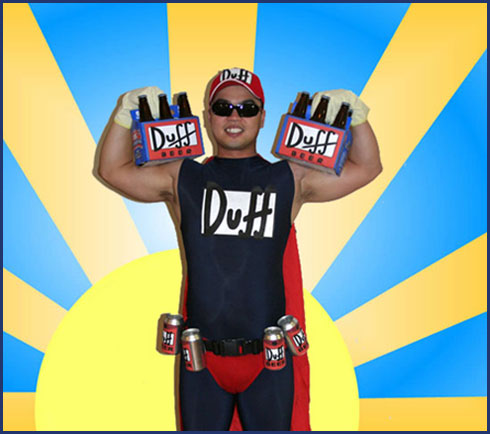 Duffman Costume with Duff Beer